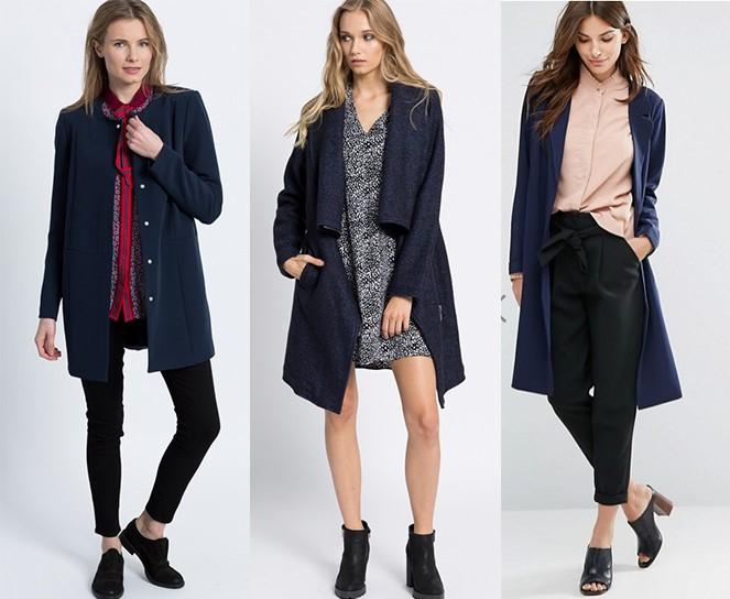 Granatowy płaszcz [pierwsze dwa: answear.com | trzeci: asos.com]