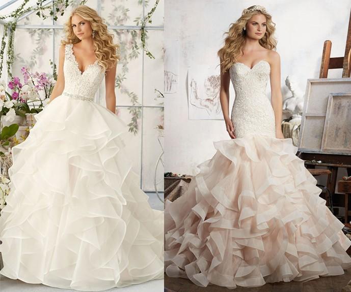 Falbany na sukniach ślubnych [źródło: morilee.com]
