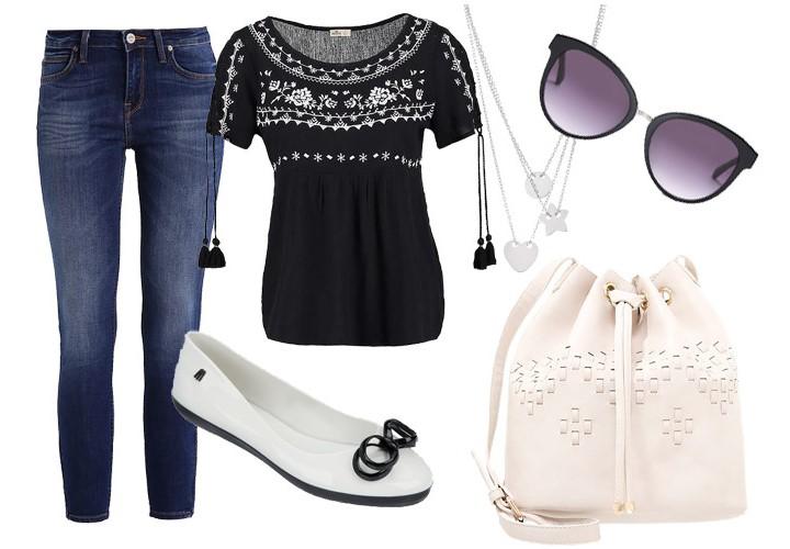 jeansy skinny, tunika. torba: zaladno; baleriny: melissa; okulary, naszyjnik: w.kruk