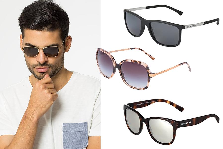 Okulary przeciwsłoneczne jak dobrać je do okrągłej twarzy? (kolaż redakcja, fot. materiały partnera)