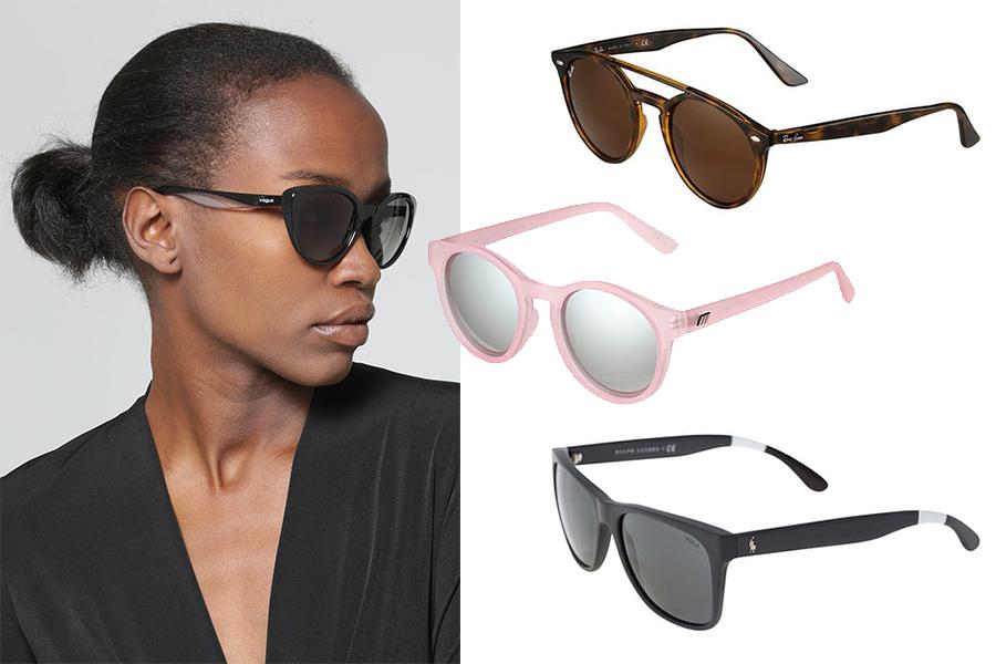 Okulary przeciwsłoneczne jak dobrać je do trójkątnej twarzy? (kolaż redakcja, fot. materiał partnera)