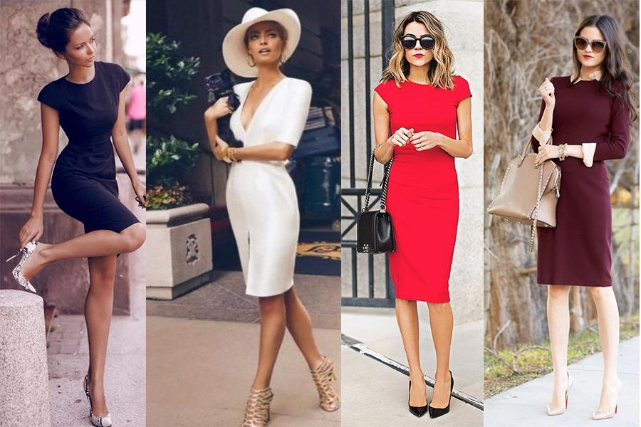 Jak nosić sukienki etui? (kolaż redakcja, materiały pinterest.com: Glam Radar, driverlayer.com, Lookastic, luvtolook)