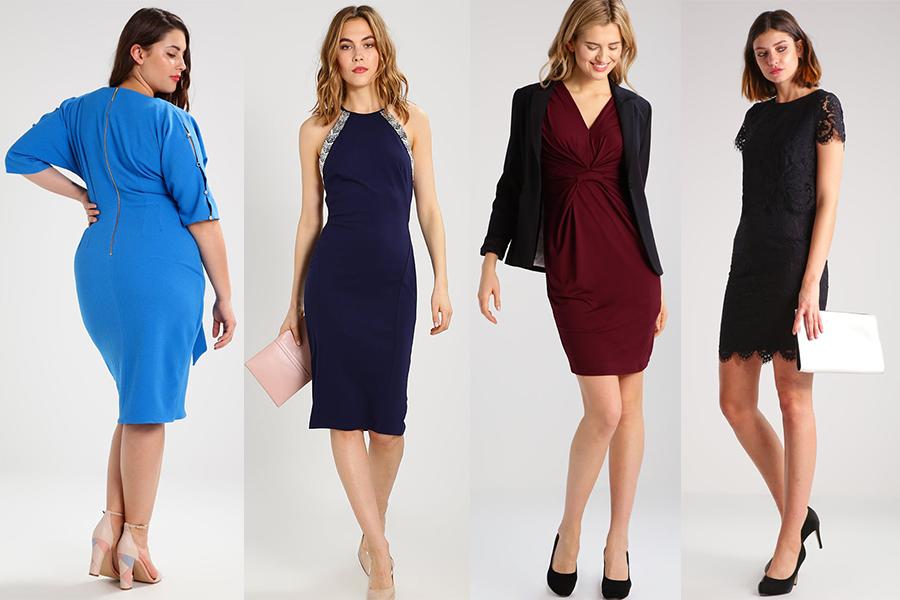 Obcisłe sukienki etui - różne fasony i rozmiary (materiały zalando.pl)