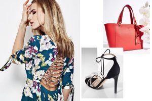 Guess sukienki, buty, torebki (kolaż redakcja, fot. guess.com.pl)