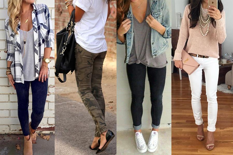 Jak nosić jegginsy? Propozycje z sieci (kolaż redakcja, fot. pinterest.com: CHICNICO.COM, Sonia Young, stylishwife.com, wachabuy.com)