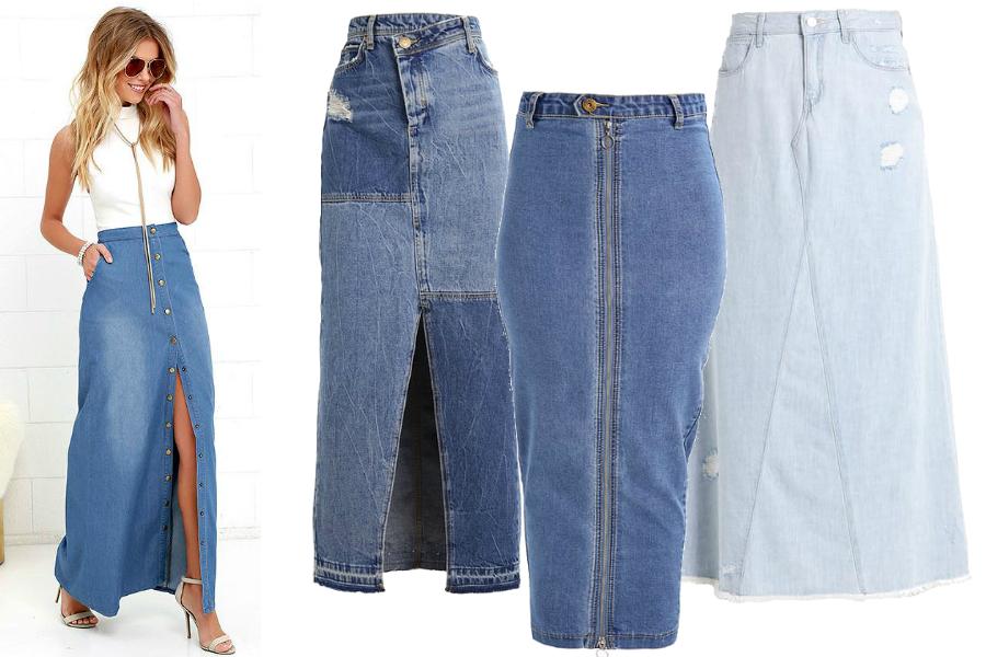 długie spódnice jeansowe