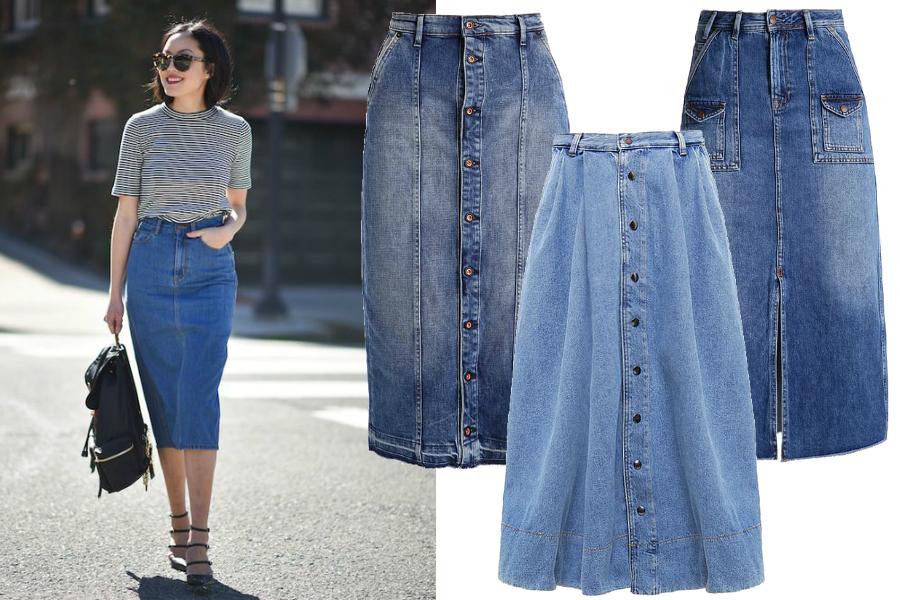 spódnice jeansowe midi